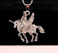 Silver Rhinestone Winged Unicorn Pendant Necklace w/Free Jewelry Box/Shipping