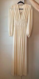Joy Stevens Vintage Maxi Empire Sexy Disco 70s Dress Ivory Wedding Party S-L