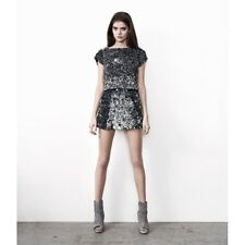 ALL SAINTS GRAFFITI GREY SILVER 3D SEQUIN EMBELLISHED MINI SKIRT 8 36 4 £195!