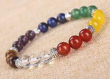 7 CHAKRA BALANCER 8mm Crystal Intention Bracelet Gemstone Yoga Healing Reiki