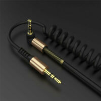 1x 3.5mm Mini Jack to Jack Coiled Male Aux Cable Audio Auxiliary Lead For PC Car