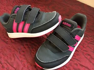 Girls Shoes SIZE 11 Infants(Eur 29)Adidas Trainers Navy Neon Pink Sport No Lace