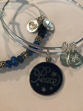 2 Alex and Ani Silver/Navy Bangles New
