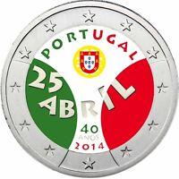 Portugal 2 Euro 2014 Nelkenrevolution Gedenkmünze in Farbe