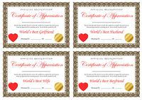 Best Boyfriend Girlfriend Husband Wife Grandma Mum Dad Nan - A4 Certificate Gift