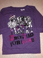 GIRLS LARGE 10/12 DROP DEAD GORGEOUS MONSTER HIGH PURPLE LONG SLEEVE SHIRT TOP !