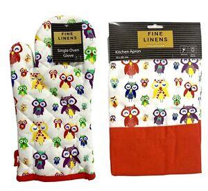 Colourful Owl Design Single Oven Glove Gauntlet Mitt & Kitchen Apron UK Seller