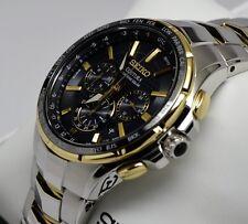 New Seiko SSG010 Coutura Radio Sync Solar Chronograph Two Tone Men's Watch