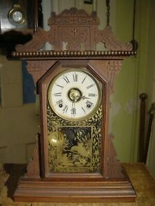 """ANTIQUE RARE 1880's  E. N. WELCH """"COWPER"""" ORNATE BLACK WALNUT SHELF CLOCK WORKS"""