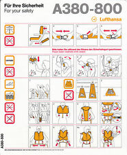 Safety Card LH A380-800 Airbus A 380! NEU!!! (printed in Germany 09/2011)
