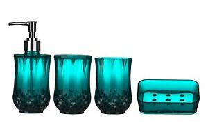 Premier Housewares Cristallo Bathroom Set - Blue, 4-Pieces