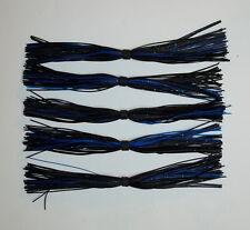 5 Custom Made Silicone Spinnerbait Skirts (Black/Blue) Bass Fishing-Fishing NEW