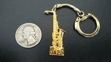 Vintage Saxophone Jazz Gold Tone Keychain  Sax  Musical Instrument
