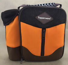 Tupperware Lunch Bag Orange Brown Insulated Tote Water Bottle Side Pocket New
