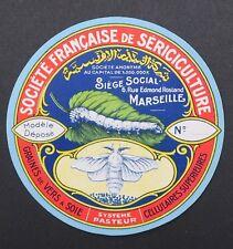 Ancienne étiquette ronde VER A SOIE SERICICULTURE MARSEILLE silkworm label