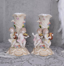 Barockfiguren zwei Kerzenhalter Pärchen Barockleuchter Engel Tischleuchter