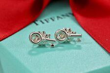 Tiffany & Co. Sterling Silver Mini Key Stud Earrings w/ Box & Pouch