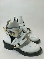 Balenciaga Ceinture Leather Cut- Out Boots In White Size 35