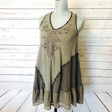 Free People XS Gray Ruffled Tunic Top Sleeveless Embellished Bling Flowy Swing