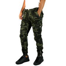 Pantaloni uomo cargo militare camouflage molla alla caviglia autunno inverno