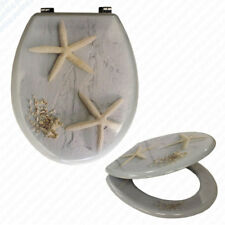 STARFISH BEACH SEA Wooden Novelty Toilet Seat • Metal Bottom Fixing Hinges