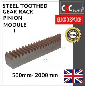 MODULE 1 15X15 EN8 STEEL TOOTHED GEAR RACK PINION CNC PLASMA ROUTR 500 1000 2000