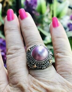 💖ROBERT MANSE BALI COUTURE  STERLING MABE PINK PEARL RING  IN A LUCKY  SIZE 6