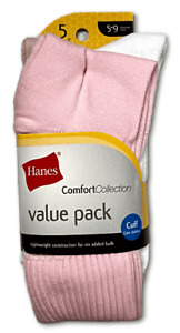 New Women's Hanes 5 Pack Pink/White Comfort Collection Cuff Socks Shoe Size 5-9
