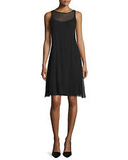 Eileen Fisher Sheer Hemp Herringbone Lace Crew Neck Dress, Black, Small, NWT