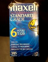 Maxell VHS Video Cassette 6 Hour Standard Grade T-120 Blank Tapes Sealed 4 Pack