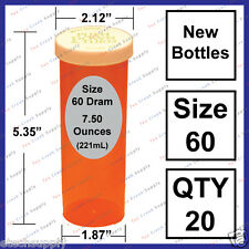 20 NEW Size 60 Dram Empty XL RX Prescription Bottles Safety Craft Storage Large