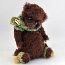 Handmade crochet brown teddy bear, artist miniature, 7in.
