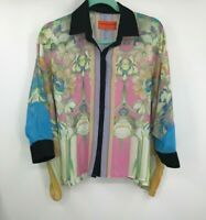 Clover Canyon Womens S Small Oversized Sheer Floral Blouse Top Multicolor