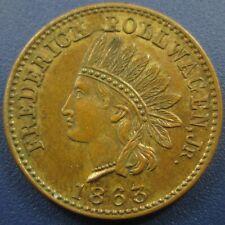 1863 Civil War Token Cwt Indian Head Frederick Rollwagon Jr. New York - Nice Unc