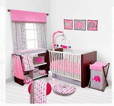 Baby Girl Bedding Bedroom Set Nursery Elephants 10 p Infant Room Crib Pink Kids