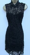 REBELLION LADIES BLACK LACE HIGH NECK SHIFT DRESS SIZE 10 LINED PARTY EVENING
