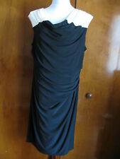 Ralph Lauren Women's Black White Faux Wrap Evening Lined NWT Dress size 14