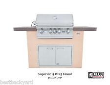 "Lion Superior Q Stucco BBQ Island w/ Tile Top,32"" Lion  Grill,Double Doors & GFI"