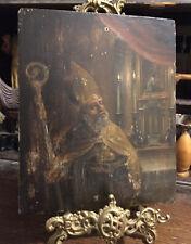 Small Antique Religious Icon - Saint / Bishop - Interior Scene Oil On Board