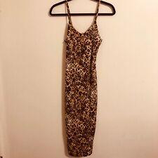Leopard Tiger Animal Print Fitted Dress Spaghetti Strap Size Medium Golden State