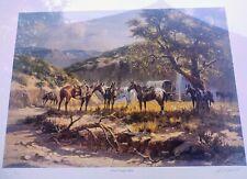 Chuck Wagon Stop w/companion print by Western Artist Olaf Wieghorst native