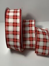 """5 Yds- 2 1/2"""" Wired Christmas Faux Linen Red,White & Black Window Pane Ribbon"""