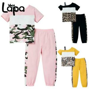 LAPA Toddler Kids Girls Leopard Off the Shoulder Tops Pant Tacksuit Outfits Set