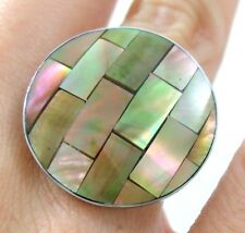 "Handmade 1.0"" Mosaic Mother of Pearl ring size US 6 to 9 (adjustable) ; BA073"