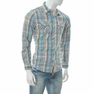 Quiksilver Men's Two-Pocket Western Style Shirt Long Sleeve Cotton Plaid Size s