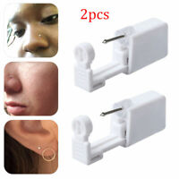 2x Disposable Safe Sterile Piercing Unit Nose Studs Piercing Tool Kit With Stud