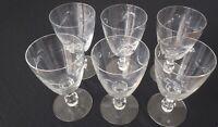Set of 6 Cut Crystal Stemmed Wine Glasses 8 oz. Capacity
