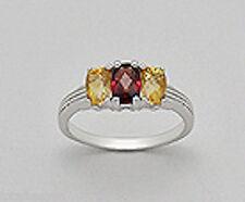 3g Solid Sterling Silver Natural Golden Citrine & Red Garnet Engagement Ring sz8