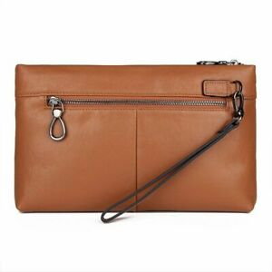 High End Men Leather Handbags Practical Business Large Capacity Long Wallets