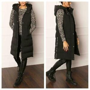 New Womens Ladies Longline Hooded Puffer Gilet Oversized Zip Button Knee Length